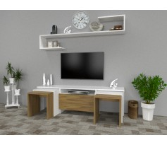 طاولة تلفزيون Ege مع 4 طاولات خدمة