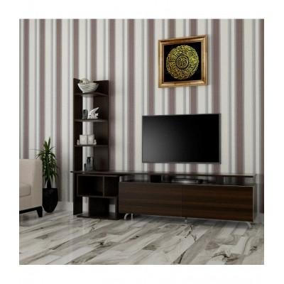 طاولة تلفزيون SHTV06 بني مع طاولة جانبية