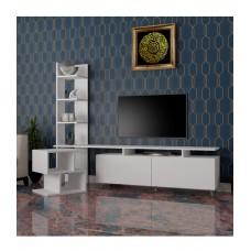 طاولة تلفزيون SHTV06 أبيض مع طاولة جانبية