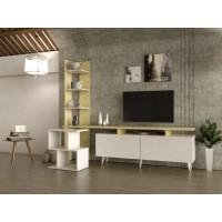 طاولة تلفزيون SHTV06 لونين2 مع طاولة جانبية