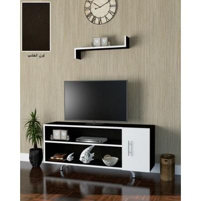 طاولة تلفزيون SHTV09 بني غامق وابيض
