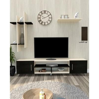 طاولة تلفزيون SHTV15 بني غامق وبيج