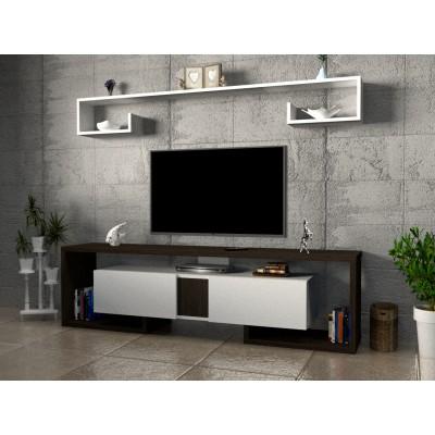 طاولة تلفزيون SHTV34 ابيض وبني محروق