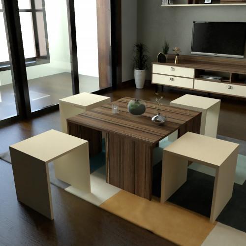 طقم طاولات SH49 بني وبيج