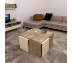 طاولة وسط SHCT49 خشبي وبيج