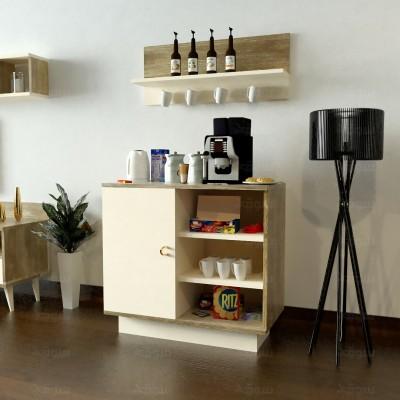 ركن وطاولة قهوة SHRC49 خشبي وبيج