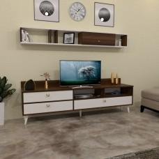 طاولة تلفزيون SHTV49 ابيض وبني