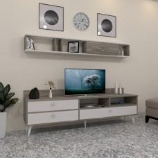 طاولة تلفزيون SHTV49 ابيض ورمادي
