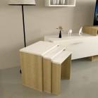 طقم طاولات SH28 ابيض وخشبي