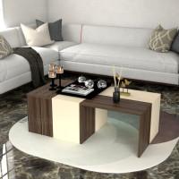 طاولة وسط SHCT07 بني وبيج 4 قطع