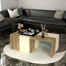 طاولة وسط SHCT07 خشبي وبيج 4 قطع