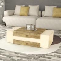 طاولة وسط SHCT45 خشبي وبيج