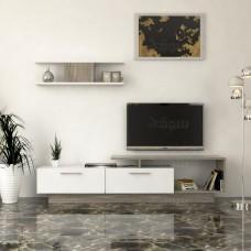 طاولة تلفزيون SHTV01 أبيض ورمادي