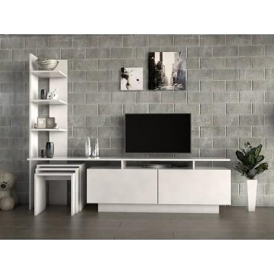 طاولة تلفزيون SHTV06 أبيض مع 3 طاولات خدمة