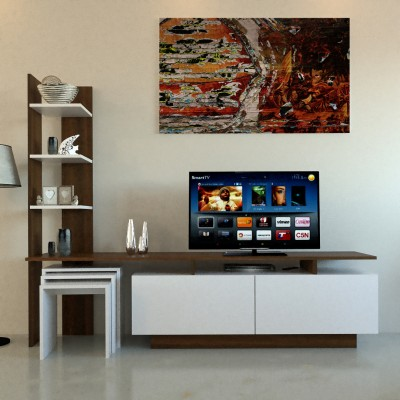 طاولة تلفزيون SHTV06 أبيض وبني مع 3 طاولة خدمة