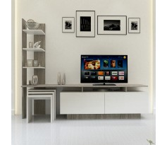 طاولة تلفزيون SHTV06 أبيض ورمادي مع 3 طاولات خدمة