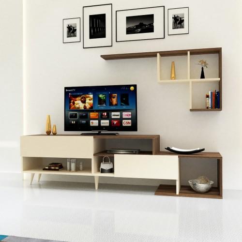 طاولة تلفزيون SHTV25 بني وبيج