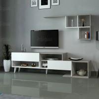 طاولة تلفزيون SHTV25 ابيض ورمادي