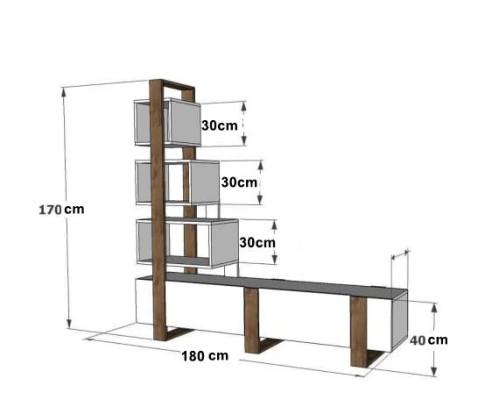 طاولة تلفزيون SHTV47 ابيض وبني