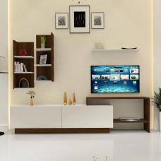 طاولة تلفزيون SHTV48 ابيض وبني