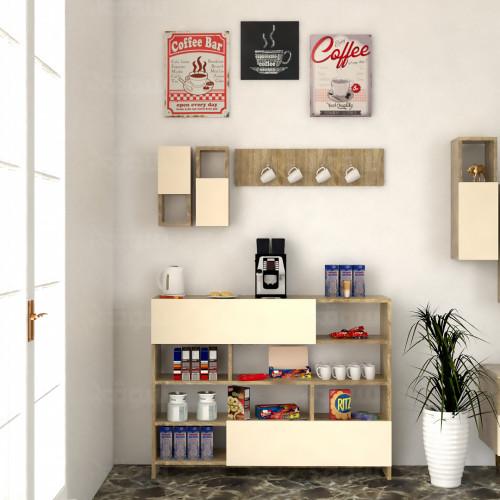 ركن وطاولة قهوة SHRC04 خشبي وبيج