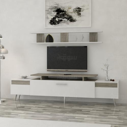 طاولة تلفزيون SHTV45 ابيض ورمادي