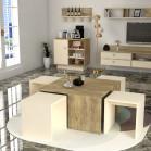 طقم طاولات SH49 بيج وخشبي