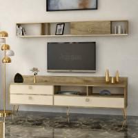 طاولة تلفزيون SHTV49 خشبي وبيج