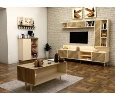 طقم طاولات SH50 بيج وخشبي