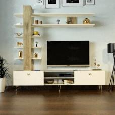طاولة تلفزيون SHTV07 خشبي وبيج