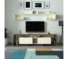 طاولة تلفزيون SHTV34 بني وبيج