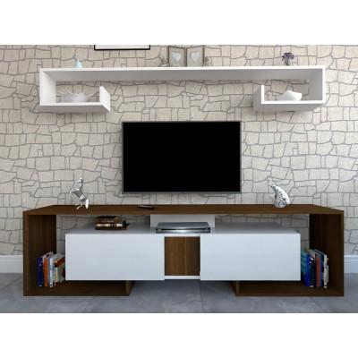 طاولة تلفزيون SHTV34 ابيض وبني