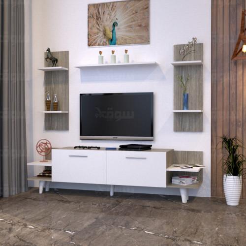 طاولة تلفزيون SHTV51 ابيض رمادي